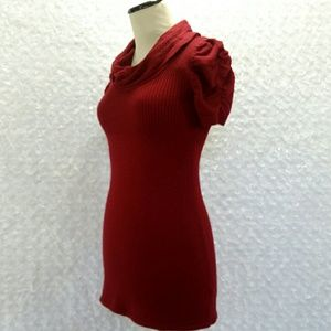 Burgundy Knit Cowl Neck Sweater Tunic Top Dreds